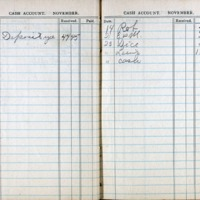 1914 Diary Cash Account November