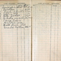 1904 Diary Cash Account September