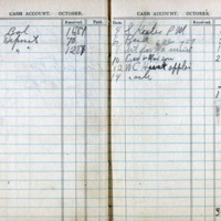 1914 Diary Cash Account October