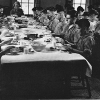 Meal time in dining room of Beals Hall about 1944-45