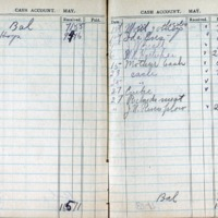 1914 Diary Cash Account May