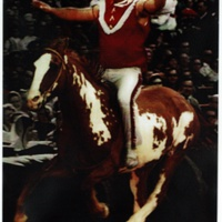 KC Chiefs Mascot Ridden by Bob Johnson