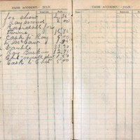 1904 Diary Cash Account July