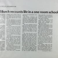 Marvel Burch recounts life in a one room schoolhouse