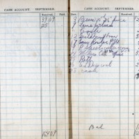 1914 Diary Cash Account September