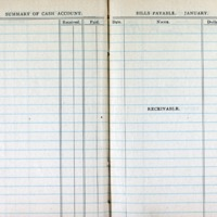 1914 Diary Summary of Cash Account