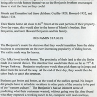 The Story of the Benjamin Family and Their Stables p. 2